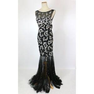 NWT Jovani Genuine Black Beaded Lace-Up Slit-Skirt